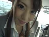 桜井あゆ美人OLが車内でフェラ