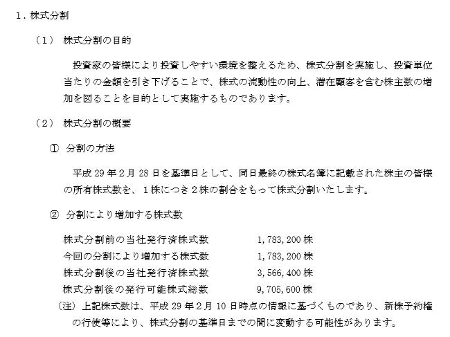 海帆・株式分割