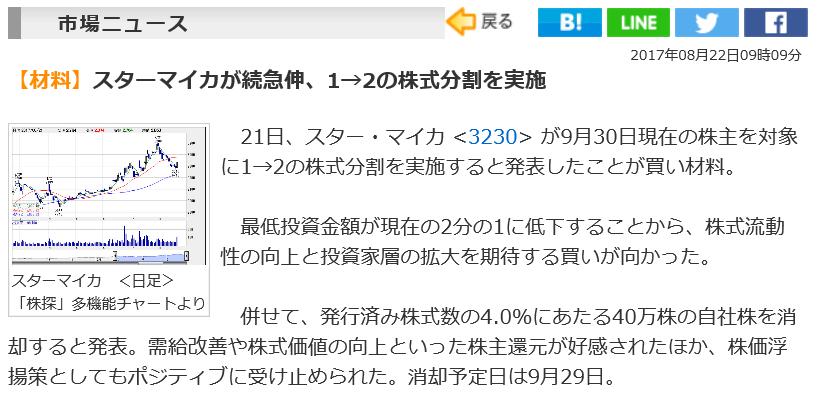 スター・マイカ株式分割