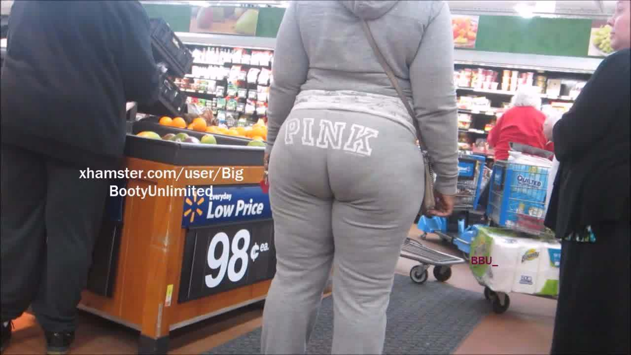 スーパーに出没したガッチリむっちり巨尻娘を隠し撮り!PhatBootyGraySweatsSista