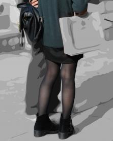 薄手黒タイツの美脚シルエット