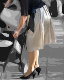 光沢ドレスのムチ脚ストッキング