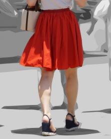 真っ赤な膝丈スカート