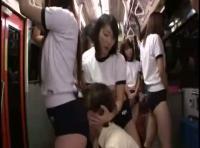 【もざなし無料動画】乗客全員ブルマ姿のバスに乗ったらものすごいハーレムセックスが待っていた!