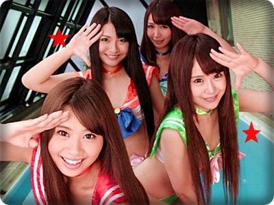 【無修正・中出し】【小嶋夏海 他3名】美少女達がマン汁飛び散る酒池肉林大乱交||