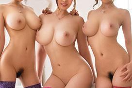 ヌードの巨乳美女たちが集合すると、圧巻の眺めになるんだね