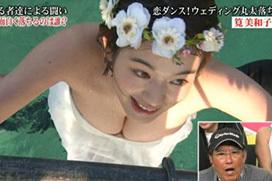 筧美和子のおっぱい事故www水の重みでずり下がってポロリwww(画像あり)