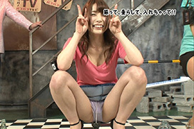 関西でAV女優・長谷川るいのしゃがみパンチラ
