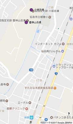 雷神山古墳地図