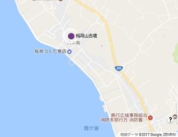 行方稲荷山古墳地図