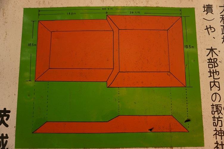 茨城町宝塚古墳08解説板の墳形見取り図