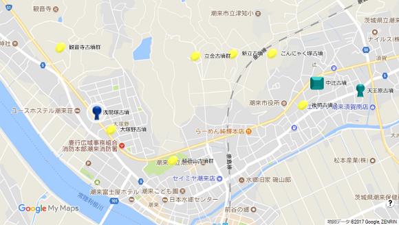 潮来浅間塚古墳地図