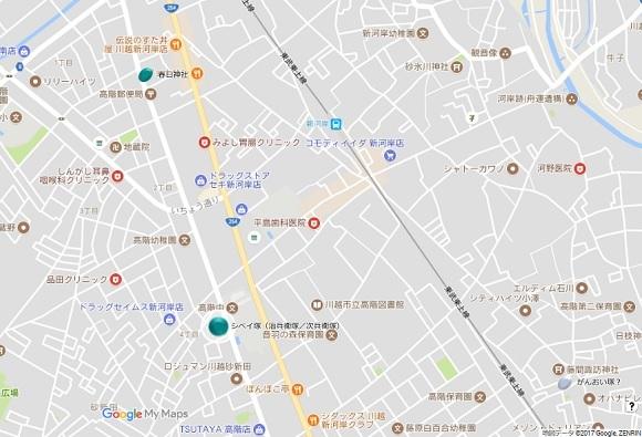川越砂新田シベイ塚地図