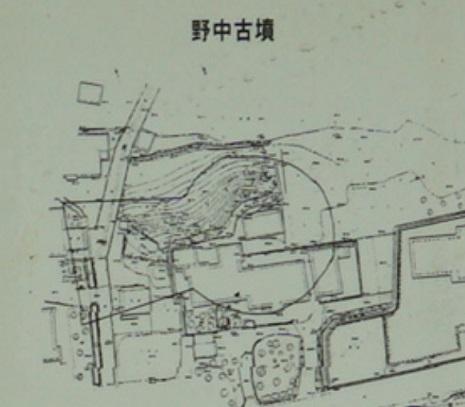 野中古墳測量図(長塚古墳現地解説板より)