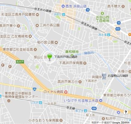 杉並下高井戸塚山遺跡地図