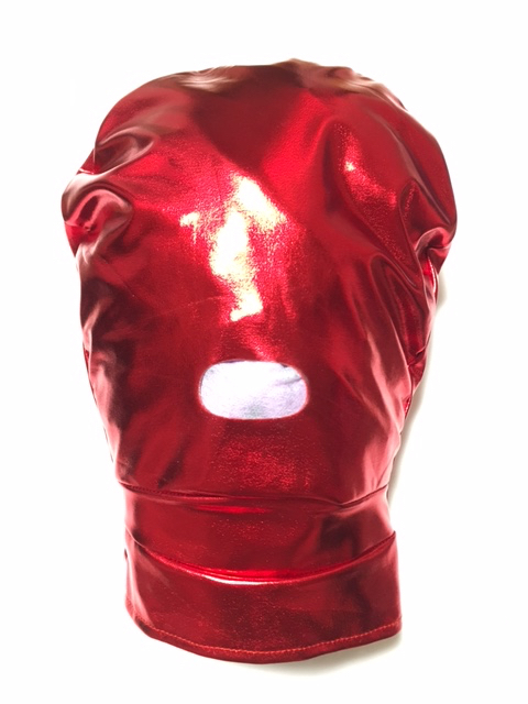 赤メタリック口開きマスク
