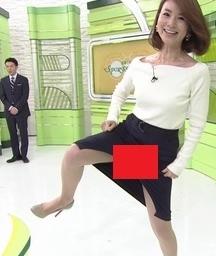 【エロGIFあり】秋元玲奈アナがパツパツスカートでシコふみパンチラwww