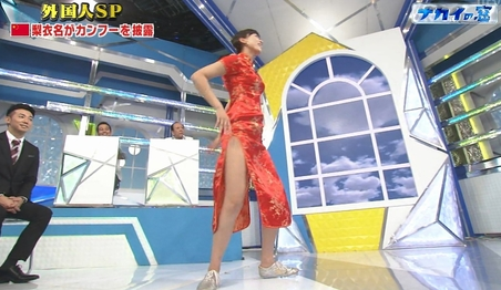 中国人モデルモデル「梨衣名」がナカイの窓で大胆パンツ丸見えかましてwwwwww