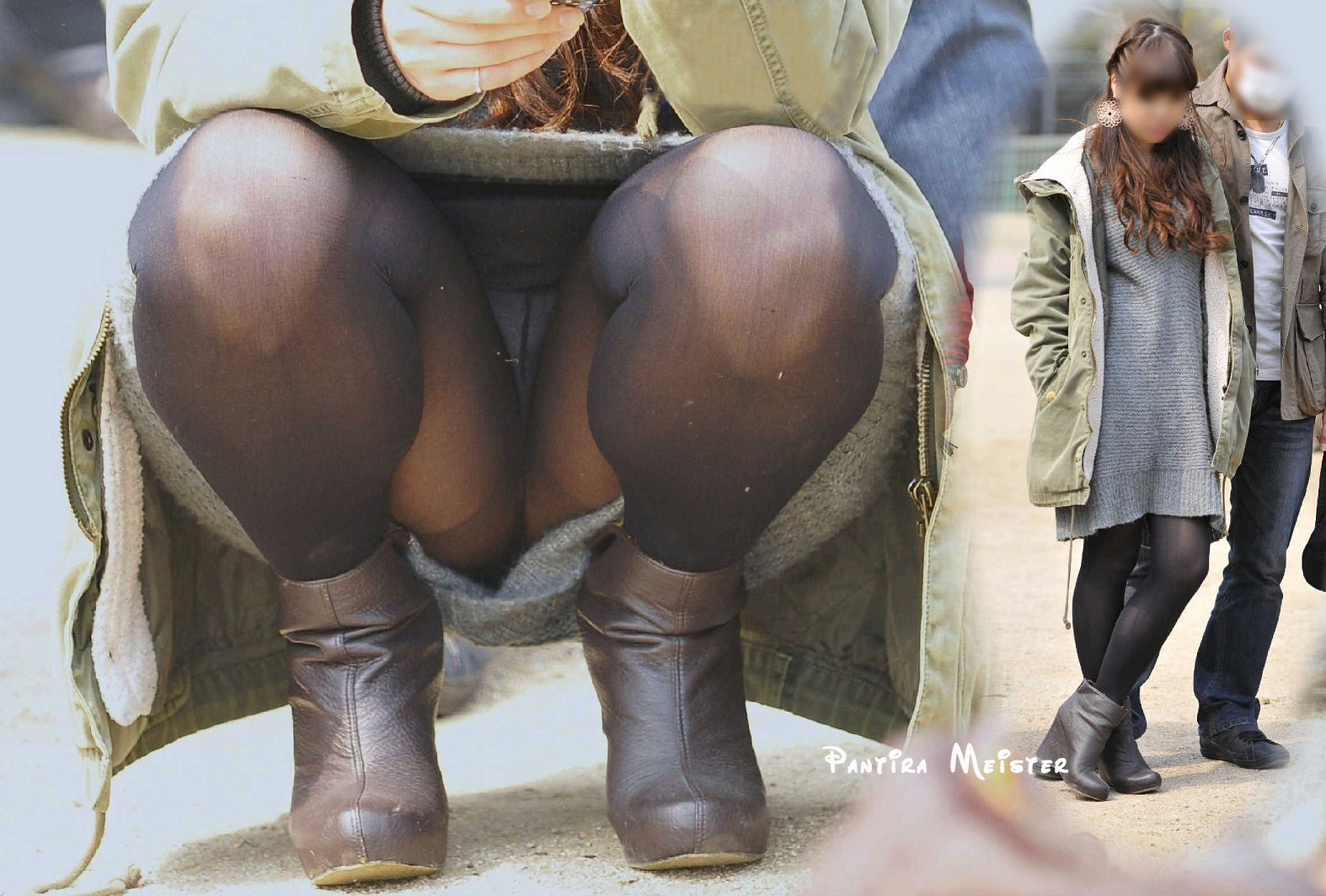 ストッキング・タイツ履いてればしゃがんでも大丈ダンナだと思ってるシロウト達のパンツ丸見え写真