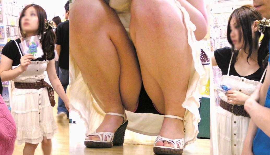 手を伸ばせば股間に手が届きそうな距離にあるシロウトのパンツ丸見え写真