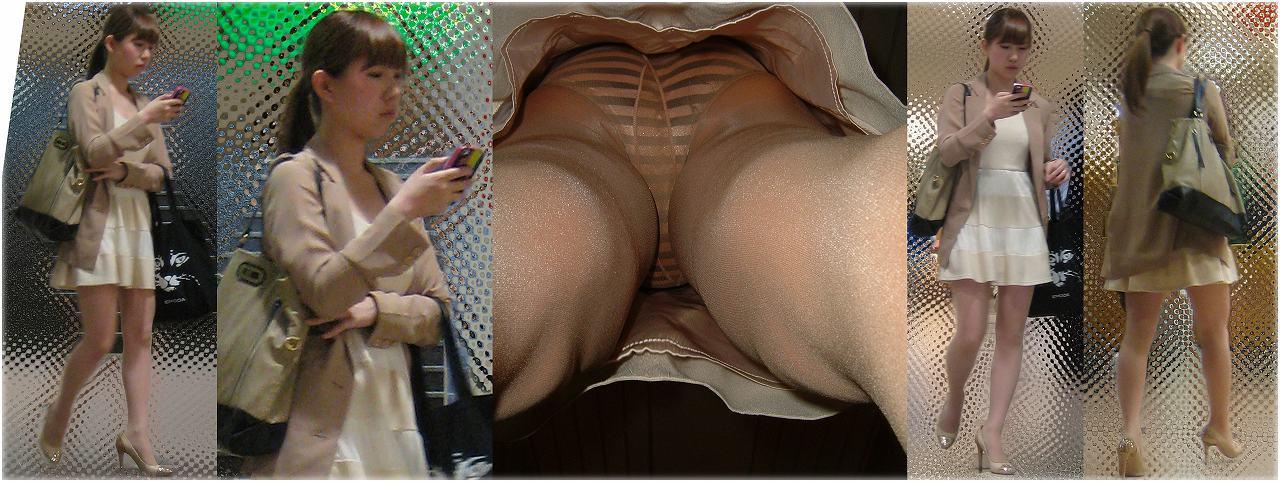 【逆さ撮り】パンスト越しのパンチラを撮影したエロ画像