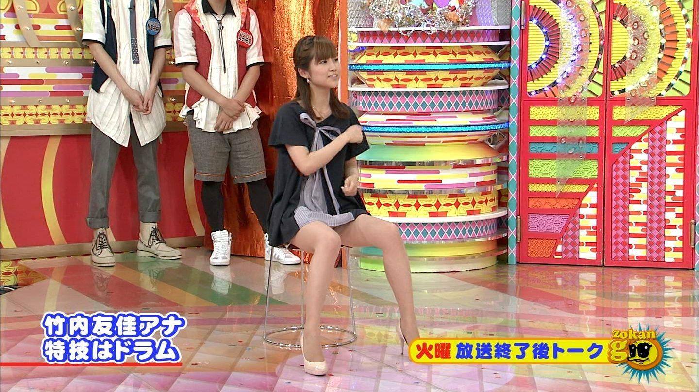 竹内友佳のテレビに映ったパンツ丸見え・太ももなどお宝えろ写真