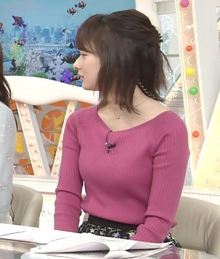 高見侑里アナ 紫色ニットのおっぱい
