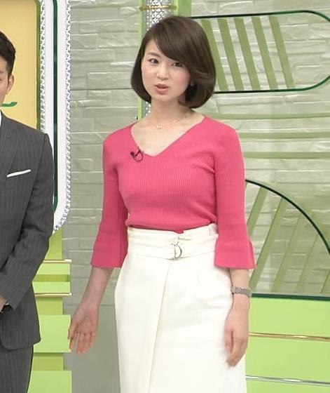 【有名人,素人画像】秋元玲奈アナ ピンクニットのお乳