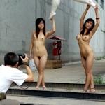 中国のヌード撮影会の様子