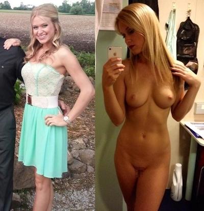 服を着てる時とヌードを並べた素人女性の比較画像特集 14