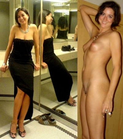服を着てる時とヌードを並べた素人女性の比較画像特集 26