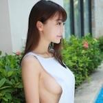 中国美少女モデル 佘贝拉bella セクシー横チチ画像