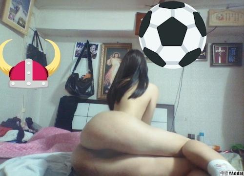 乳輪の大きな韓国の黒髪少女の自分撮りヌード画像 8