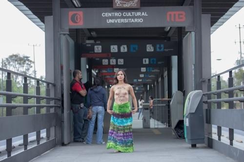 メキシコで全裸になって抗議する若い女性のヌード画像 5