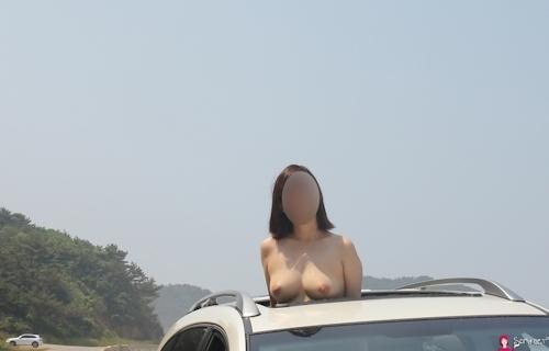 韓国素人女性の野外露出ヌード画像 9