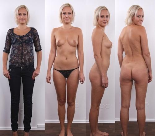 服を着てる時とヌードを並べた西洋素人女性の比較画像 5