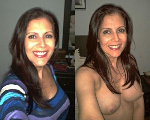 服を着てる時とヌードを並べた西洋素人女性の比較画像 16