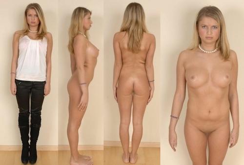 服を着てる時とヌードを並べた西洋素人女性の比較画像 22