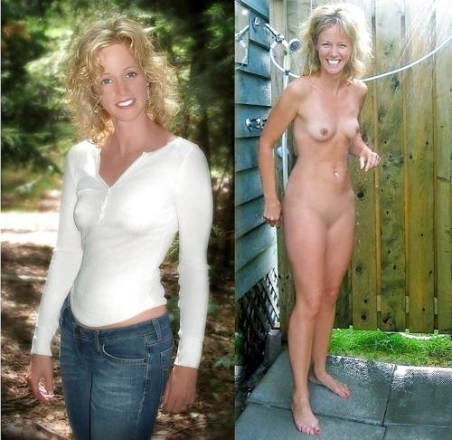 服を着てる時とヌードを並べた西洋素人女性の比較画像 23
