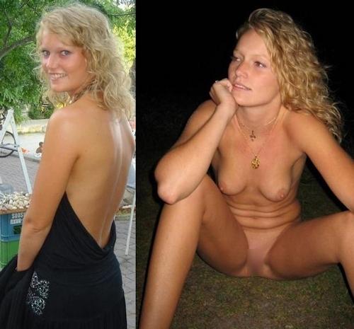 服を着てる時とヌードを並べた西洋素人女性の比較画像 20