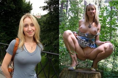 服を着てる時とヌードを並べた西洋素人女性の比較画像 1
