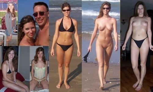 服を着てる時とヌードを並べた西洋素人女性の比較画像 19