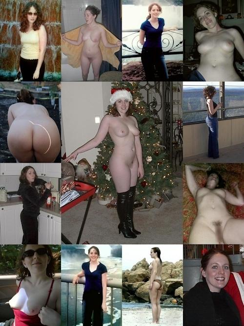 服を着てる時とヌードを並べた西洋素人女性の比較画像 21