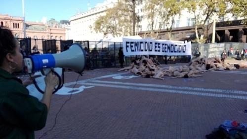 アルゼンチンで100人以上の女性が全裸になって女性への暴力に対する抗議デモ 7