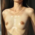 Bカップ美微乳な素人女性のウェッティなヌード画像