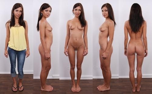 服を着てる時とヌードを並べた西洋素人女性の比較画像 2