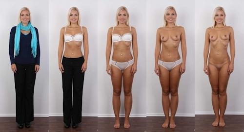 服を着てる時とヌードを並べた西洋素人女性の比較画像 4