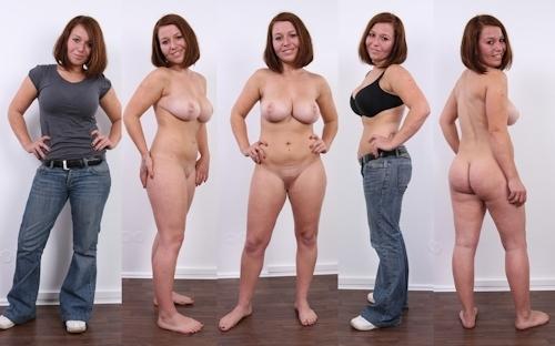 服を着てる時とヌードを並べた西洋素人女性の比較画像 6