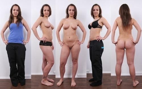 服を着てる時とヌードを並べた西洋素人女性の比較画像 8