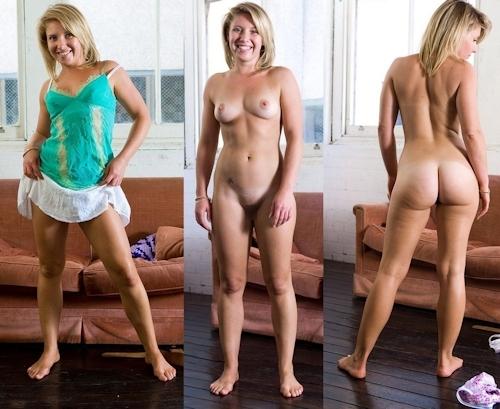 服を着てる時とヌードを並べた西洋素人女性の比較画像 10